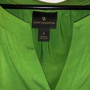 Beautiful green large dressy cap sleeve blouse